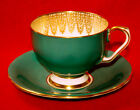 VINTAGE AYNSLEY TEA CUP & SAUCER TEAL or GREEN & GOLD C1713