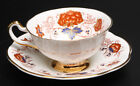 ROSINA BONE CHINA TEACUP AND SAUCER WHITE GOLD TRIM AND FLORAL DESIGN