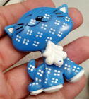 Vintage 1970's Avon Fragrance glace 1973 New York Blue & Wite Cat Brooch or Pin