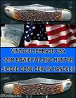 Schrade 225H Folding Bowie Hunter Circa 1960's USA Hardened Carbon Steel Blades