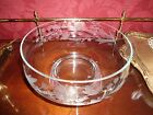 Elegant and lovely clear etched glass pedestal bowl