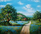 Wall Art Oil painting Texas Bluebonnets Landscape on canvas 20