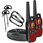 WALKIE TALKIE 2 TWO WAY RADIO Portable RED 30 mile w/ CLIP HANDSFREE HEADSET Him