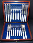 22 Pc. Sheffield Etched Silver Plate Knife Fork Dessert Service for 10 Celluloid