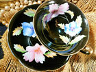 CHUGAI  JAPAN TEA CUP AND SAUCER EXQUISITE HP BLUE & PINK HIBISCUS ON BLACK GOLD