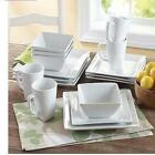 Dinnerware Set 16 Piece Plates Dishes Bowls Kitchen Service Dinner White Square