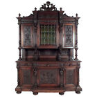 19th C. French Renaissance Buffet Walnut Carved Wood Leaded Glass Excellent