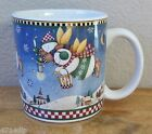 Sakura by Debbie Mumm SNOW ANGEL VILLAGE Xmas Holiday Mug - 2 Flying Snowman