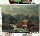 Antique Canvas Painting from the late1800's Canvas Wooden Frame hardware pat1883