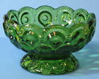 LE SMITH Green MOON & STARS SCALLOP EDGE FOOTED COMPOTE BOWL CANDY DISH