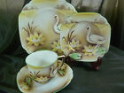 VINTAGE BAVARIA TEA CUP AND SAUCER TRIO = plate BROWN FADE WATER LILY SWANS c19