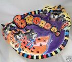 Retired Fitz And Floyd Halloween Kitty Witches Large Boo Serving Bowl In Box