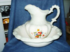 Antique Heatherstone English Ironstone Large Pitcher and Basin 1888