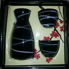 New Sake Set 3 Pieces Black with White Swirls Wine Bottle 6.3 oz. Cups 1.9 oz.