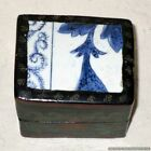 Vintage Chinese Porcelain Pottery Shard Black Lacquered Trinket Box Hand Painted