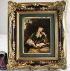 PORCELAIN PLAQUE ROSENTHAL ca. 1890's HAND PAINTED THE HERMIT SALOMON KONINCK