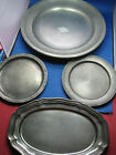 4 Antique German Engraved Solid Pewter Plates Very Old 6 LBS 8 oz 1 Huge dia 14