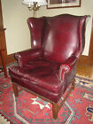 LARGE VINTAGE RED LEATHER WINGBACK ARM CHAIR