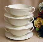 Wedgwood Ftruria & Baklaston Patrician England (3) Footed Cream Soups & Saucers