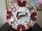 Victoria Carlsbad Austria Porcelain Fish Plate Hand Painted  Flowers Red  Gold