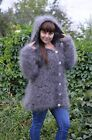 Cardigan with a hood hand knitted longhair curly goat down unisex Size: L
