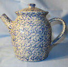 HENN POTTERY COUNTRY HOME COLLECTION BLUE SPONGEWARE STONEWARE TEAPOT