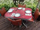 Vintage RED FORMICA DINETTE TABLE w/ 4 VINTAGE CHAIRS - Early 1950s!