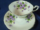 PARAGON TEA CUP AND SAUCER SEMI SQUARE PURPLE VIOLETS ON WHITE GOLD GILT TRIM