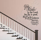 Psalm 1361 Give Thanks To The Lord Christian Vinyl Wall Decal Quote Scripture