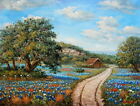 Handmade Oil painting Texas Bluebonnets Landscape on canvas by Steven