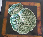 BORDALLO PINHEIRO Green Cabbage Leaf Divided Olive Bowl Serving Dish  7 X 5 1/2