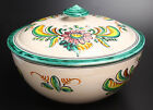SANGUINO TOLEDO POTTERY SERVING BOWL WITH LID BEIGE WITH MULTI COLORS