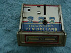 Vintage J Chein Dime Register @ $10 Tin Litho Coin Bank