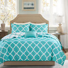 BEAUTIFUL MODERN CONTEMPORARY REVERSIBLE BLUE TEAL AQUA WHITE CHIC QUILT SET NEW