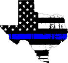 Thin Blue line decal - State of Texas Tattered Flag - Various Sizes