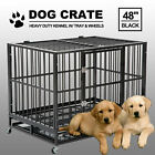 48 Black Heavy Duty Dog Crate Cage Pet Kennel Playpen Exercise w Metal Tray US