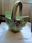 VINTAGE McCOY ART POTTERY HANDLED BASKET PLANTER VASE - LEAVES & BERRIES – GREEN