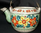 Antique Vintage Japanese Teapot Crackle Ware Japan Planter No Lid STUNNING Funky