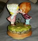 Vintage Sankyo, Japan Kissing Girl & Boy w/ Dog Revolving Music Box *Works*