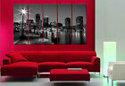 BOSTON NIGHT 5 piece mounted fiber board canvas wall art/better than stretched