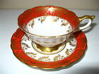 Antique Royal Stafford Tea Cup and Saucer Red Band Gold Leaf Mall Flowers