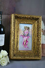 Gorgeous French Painting  porcelain plaque wood frame cherub putti lady signed