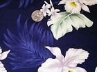 100% Cotton, White Orchid on Navy blue Fabric ~ 18