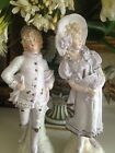 GORGEOUS MATCHED PAIR GERMAN BISQUE ANTIQUE FIGURINES, PIANO BABY, MARKED ROYAL