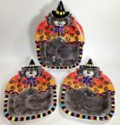 3 Fitz & Floyd Black Cat Kitty Witches Plates Essentials Serving Halloween FLAWS