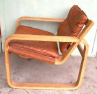A STYLISH MID CENTURY MODERN ALVAR AALTO BENTWOOD+LEATHER  SLED ARMCHAIR