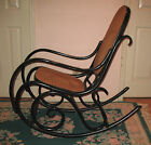 Vintage Thonet Bentwood Black Rocking Chair Mid Century Modern