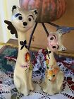 VINTAGE MEXICAN NUNO FOLK ART HAND PAINTED PAPER MACHE CATS SIGNED