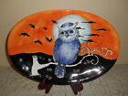 MAXCERA Owl Silhouette Dinnerware Oval Platter Fall Halloween Orange
