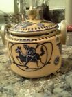 Nippon Hand painted Jar with Lid Horse Japan Ceramic Yellow / Mustard Blue